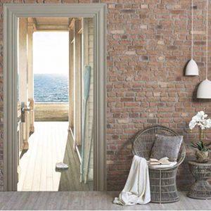 Autocollant De Porte 3D Couloir Mer Style Européen Mural Décoration Chambre Salon Poster Autocollant Imperméable en PVC D'QtXINGMU de la marque QTXINGMU image 0 produit
