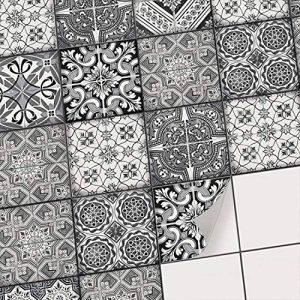 Autocollant en Vinyle - adhésif carrelage Murale Stickers Cuisine - Embellir Salle de Bain I Recouvrir Carreaux de Ciment moasique - 10x10 cm (40 piéces) - Design Noir et Blanc de la marque creatisto image 0 produit