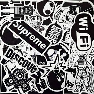 Autocollant Lot [100pcs], AhaSky Stickers Blanc&Noir Imperméable et Suncare, Bumper Bombe Autocollants pour Ordinateur Portable, Enfants, Voitures, Moto, Vélo, Skateboard, Macbook, Valise, Ps4, Xbox de la marque AhaSky image 0 produit