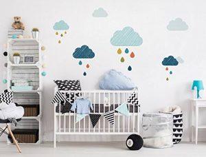 autocollant mural chambre d'enfant Nuages des gouttes colorées autocollant mu de la marque dekodino image 0 produit