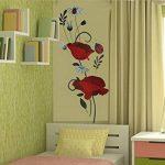 Autocollant mural coquelicots Décalcomanies Décoration de maison Fleurs modernes élégantes Décoration de chambre à coucher Cuisine de la marque Deco-online image 3 produit