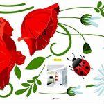 Autocollant mural coquelicots Décalcomanies Décoration de maison Fleurs modernes élégantes Décoration de chambre à coucher Cuisine de la marque Deco-online image 4 produit