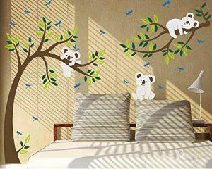 """Autocollant mural Koala sur une branche d'arbre, multicolore, 80""""W x 112""""H de la marque LUCKKYY image 0 produit"""