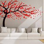 Autocollant mural Rocwart - Motif d'arbre en fleurs - Décoration murale amovible pour salon ou chambre d'enfant - En vinyle - 180 x 120 cm - Marron et rouge, vinyle, noir/rouge, 180x120cm de la marque Rocwart image 1 produit