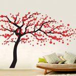 Autocollant mural Rocwart - Motif d'arbre en fleurs - Décoration murale amovible pour salon ou chambre d'enfant - En vinyle - 180 x 120 cm - Marron et rouge, vinyle, noir/rouge, 180x120cm de la marque Rocwart image 2 produit