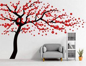 Autocollant mural Rocwart - Motif d'arbre en fleurs - Décoration murale amovible pour salon ou chambre d'enfant - En vinyle - 180 x 120 cm - Marron et rouge, vinyle, noir/rouge, 180x120cm de la marque Rocwart image 0 produit