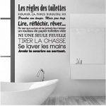 Autocollants de salle de bains Français Règles de Toilette Vinyle Mur Art Stickers Murale Toilette Papier Peint Wc Home Decor Affiche Maison Décoration de la marque Ymran image 3 produit