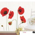 Autocollants muraux repositionnables en forme de coquelicots rouges de la marque DecoBay image 2 produit