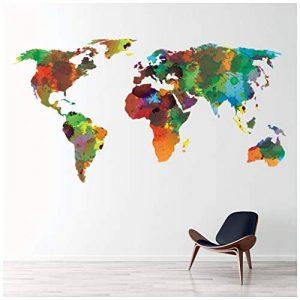 azutura Carte du Monde Sticker Muraux Couleur de leau Sticker Art Maison de séjour Décor Disponible en 8 Tailles X-Grand Numérique de la marque azutura image 0 produit