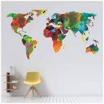 azutura Carte du Monde Sticker Muraux Couleur de leau Sticker Art Maison de séjour Décor Disponible en 8 Tailles X-Grand Numérique de la marque azutura image 2 produit