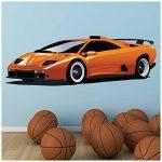 azutura Orange Lamborghini Sticker Muraux Voiture de Sport Autocollant Mural Garçons Garage Décoration de Maison Disponible en 8 Tailles Moyen Numérique de la marque azutura image 2 produit