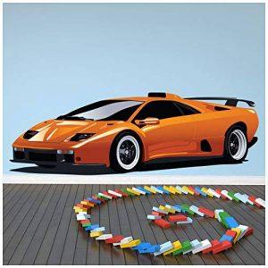 azutura Orange Lamborghini Sticker Muraux Voiture de Sport Autocollant Mural Garçons Garage Décoration de Maison Disponible en 8 Tailles Moyen Numérique de la marque azutura image 0 produit