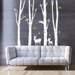 BDECOLL Autocollant en bois de Birch Tree Autocollant de vinyle de forêt et d'oiseaux de neige et de cerf (blanc) de la marque BDECOLL image 1 produit