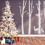 BDECOLL Autocollant en bois de Birch Tree Autocollant de vinyle de forêt et d'oiseaux de neige et de cerf (blanc) de la marque BDECOLL image 3 produit