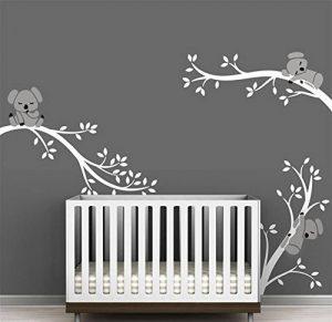 Bdecoll Autocollant mural Koala arbre---Décor moderne de nursery-pour chambre d'enfants/bébés (White White) de la marque BDECOLL image 0 produit