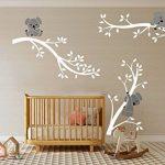 Bdecoll Autocollant mural Koala arbre---Décor moderne de nursery-pour chambre d'enfants/bébés (White White) de la marque BDECOLL image 1 produit