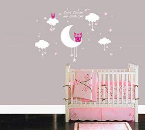 Bdecoll Bébé Chouette sur lune et étoile Stickers muraux oiseaux 2 x Hibou mignon Chambre Decor garçons filles Chambre Décoration Mur Art (Pink) de la marque BDECOLL image 0 produit