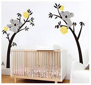 BDECOLL bebe koala stickers-Koala endormi et branche d'arbre stickers famille voiture-decoration maison murale-deco salon moderne-Arbre Stickers Muraux pour Chambre de la marque BDECOLL image 0 produit