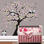 BDECOLL Cartoon arbre Panda DIY Stickers muraux,arbres Stickers muraux apier peint amovible Stickers muraux Home Decor Living Chambre filles Chambre, chambre de bébé, Creative Art Deco(Rose) de la marque BDECOLL image 2 produit