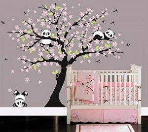 BDECOLL Cartoon arbre Panda DIY Stickers muraux,arbres Stickers muraux apier peint amovible Stickers muraux Home Decor Living Chambre filles Chambre, chambre de bébé, Creative Art Deco(Rose) de la marque BDECOLL image 0 produit