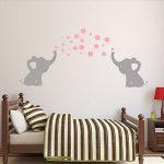 BDECOLL Familia mignon Elephant Stickers muraux avec amour Langue maternelle bébé Chambre d'enfant (Gris or Rose) de la marque BDECOLL image 2 produit