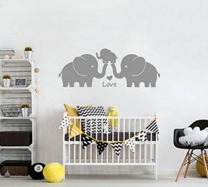 BDECOLL famille éléphant stickers muraux, éléphant decoration chambre bebe, famille stickers chambre enfant (Gris) de la marque BDECOLL image 0 produit