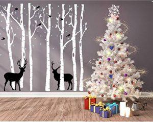 BDECOLL grand arbre généalogique et les cerfs et les oiseaux Stickers muraux Décalcomanie murale Pour la salle de séjour pour bébé (blanc) de la marque BDECOLL image 0 produit
