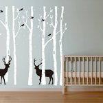 BDECOLL grand arbre généalogique et les cerfs et les oiseaux Stickers muraux Décalcomanie murale Pour la salle de séjour pour bébé (blanc) de la marque BDECOLL image 2 produit