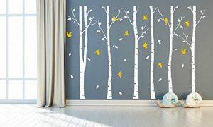 BDECOLL Stickers Arbre /6 Grands bouleaux et Oiseaux pour décoration de Chambre, Blanc/Chambre Bebe de la marque BDECOLL image 0 produit