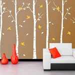 BDECOLL Stickers Arbre /6 Grands bouleaux et Oiseaux pour décoration de Chambre, Blanc/Chambre Bebe de la marque BDECOLL image 1 produit