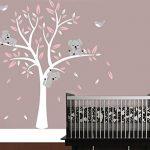 Bdecoll Stickers muraux,Grand Arbre Mignonne Koalas Sticker mural pour bébé chambre décoration/autocollant bricolage pour les enfants (Rose) de la marque BDECOLL image 4 produit