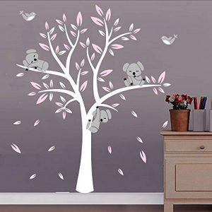 Bdecoll Stickers muraux,Grand Arbre Mignonne Koalas Sticker mural pour bébé chambre décoration/autocollant bricolage pour les enfants (Rose) de la marque BDECOLL image 0 produit