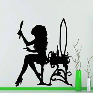 Belle Femme À La Recherche De Miroir Stickers Muraux Motif Stickers Muraux Décor À La Maison Salon Chambre Art Mural Pour Chambre de Fille 53cmx44cm de la marque fancj image 0 produit