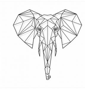 Bomeautify Géométrie tête de cerf autocollant de mur d'éléphant créatif salon chambre à coucher décor de studio autocollant éléphant 68x64cm de la marque Bomeautify image 0 produit