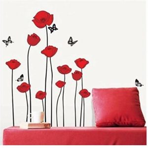 Branche de fleurs de coquelicots rouges Fleurs Sticker mural Autocollants Décalcomanies Décoration de maison Fleurs modernes élégantes Décoration de chambre à coucher Cuisine de la marque Deco-online image 0 produit