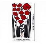 Branche de fleurs de coquelicots rouges Fleurs Sticker mural Autocollants Décalcomanies Décoration de maison Fleurs modernes élégantes Décoration de chambre à coucher Cuisine de la marque Deco-online image 2 produit