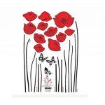 Branche de fleurs de coquelicots rouges Fleurs Sticker mural Autocollants Décalcomanies Décoration de maison Fleurs modernes élégantes Décoration de chambre à coucher Cuisine de la marque Deco-online image 3 produit