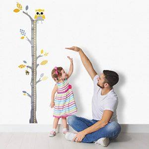 Brunoko Mesureur Autocollant Amovible Mural - Mural Stickers DIY Chambre Enfants Bébé Garderie Salon - Autocollant décoratif au design original conçu en Espagne - Indicateur de taille d'enfant de la marque brunoko image 0 produit