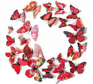 Cestlafit Autocollant De Mur De Papillon De Mode 3D, Papillon De Simulation De PVC pour Le Décor À La Maison, Décoration De Mur, Paquet De 24, Rouge de la marque Cestlafit image 0 produit