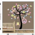 Chambre stickers muraux mur de l'usine des autocollants de Blansdi rose bleu arbre de hibou balancer le commerce des enfants de la marque Rainbow-Fox image 1 produit