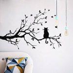 Chat sur la longue branche d'arbre sticker chat fenêtre fenêtre art autocollant amovible bricolage vinyle chambres Home Decor, noir de la marque JUMINE image 1 produit