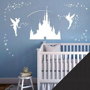 Château de Disney, Autocollant d'art mural de filles - Tinkerbell, Fées et étoiles - [Noir] de la marque Wall Designer image 0 produit