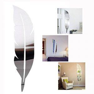 Cisixin DIY Stickers 3D Feather Plume Miroir, salon miroir mural d'autocollants Amovible Décor Décoration, 120 x 30 cm de la marque Cisixin image 0 produit