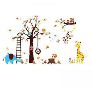 Colorfulworld Sticker mural XXXL pour chambre d'enfant Motif animaux de la jungle / Zoo Singe Girafe Éléphant & Hibou Idée Cadeau Couleur dominante Rose de la marque Rainbow-Fox image 0 produit