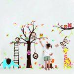 Colorfulworld Sticker mural XXXL pour chambre d'enfant Motif animaux de la jungle / Zoo Singe Girafe Éléphant & Hibou Idée Cadeau Couleur dominante Rose de la marque Rainbow-Fox image 3 produit