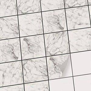 creatisto Carrelage Sticker Autocollant I carrelage adhesif Mural Salle de Bain et Cuisine - mosaique carrelage Peinture I Design Marbre Blanc I 15x15 cm (20 pièces) de la marque creatisto image 0 produit