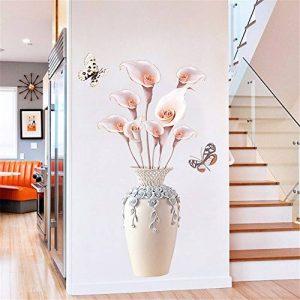 Creative Salon Couloir Simulation Vase Fleur Stickers Muraux/Auto-Adhésif Fleur Décoratif Stickers Muraux/Salon Escalier Autocollants Muraux, 70 * 110 Cm de la marque XJKLFJSIU-Wall Sticker image 0 produit