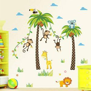 decalmile Animaux Jungle Stickers Muraux Palmier Girafe Singe Autocollant Décoration Murale pour Chambre Enfants Bébé Salon de la marque decalmile image 0 produit