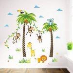 decalmile Animaux Jungle Stickers Muraux Palmier Girafe Singe Autocollant Décoration Murale pour Chambre Enfants Bébé Salon de la marque decalmile image 1 produit