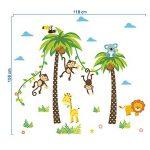 decalmile Animaux Jungle Stickers Muraux Palmier Girafe Singe Autocollant Décoration Murale pour Chambre Enfants Bébé Salon de la marque decalmile image 2 produit